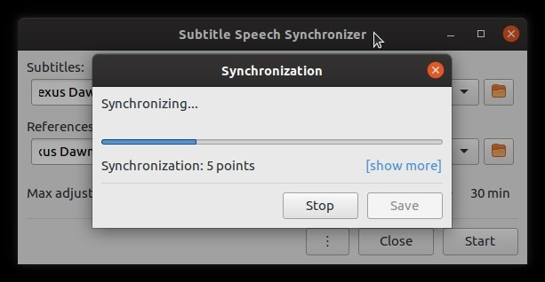 Subtítulos de autofix con puntos de sincronización Subsync