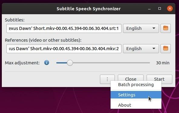 Subtítulos de autofix con la configuración del menú Subsync