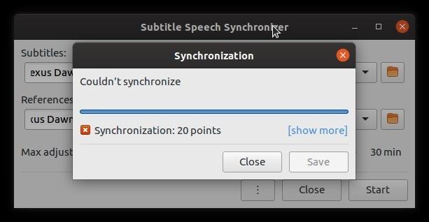 Los subtítulos de autofix Subsync fallaron