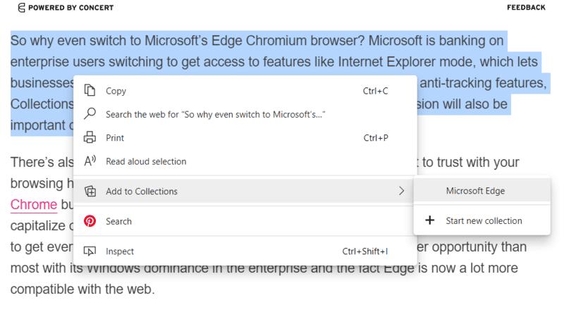 Microsoft Edge Collection Text to Collection Haga clic en