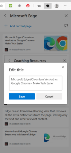 Título de edición de colecciones de Microsoft Edge