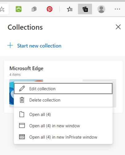 Menú de colección de edición de colecciones de Microsoft Edge