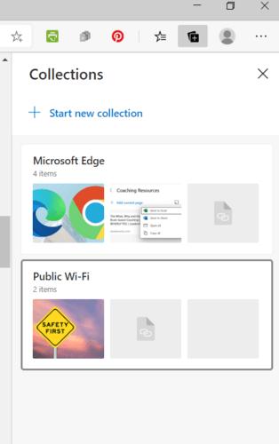 Pantalla de inicio para colecciones de Microsoft Edge