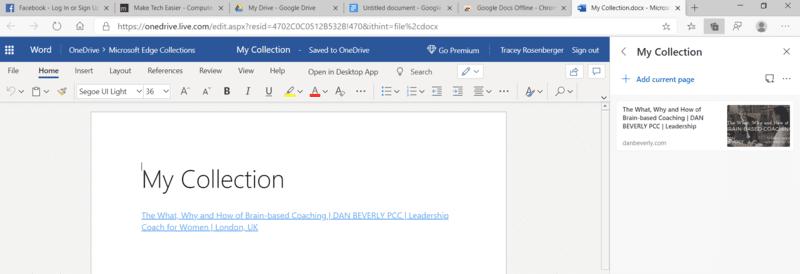 Las colecciones de Microsoft Edge se envían a Word