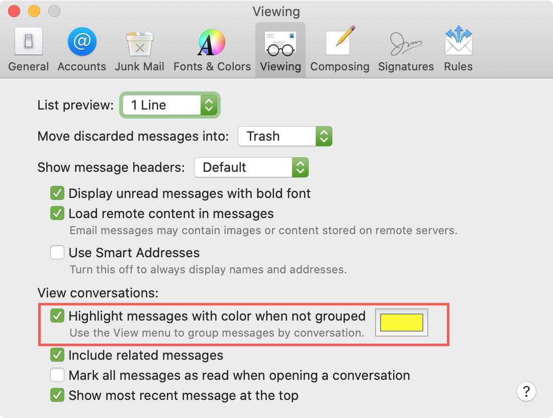 Configuración de correo electrónico Muestra el color de la selección