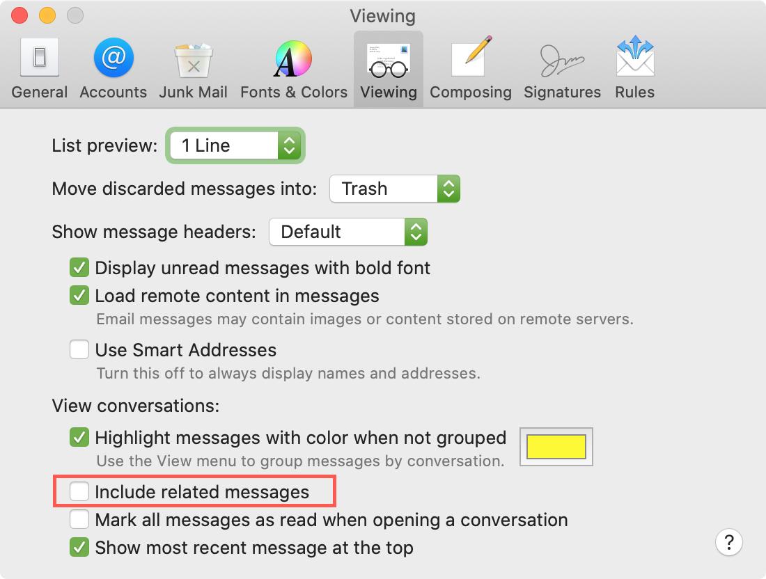 Mostrar configuración de correo deseleccionando mensajes relacionados