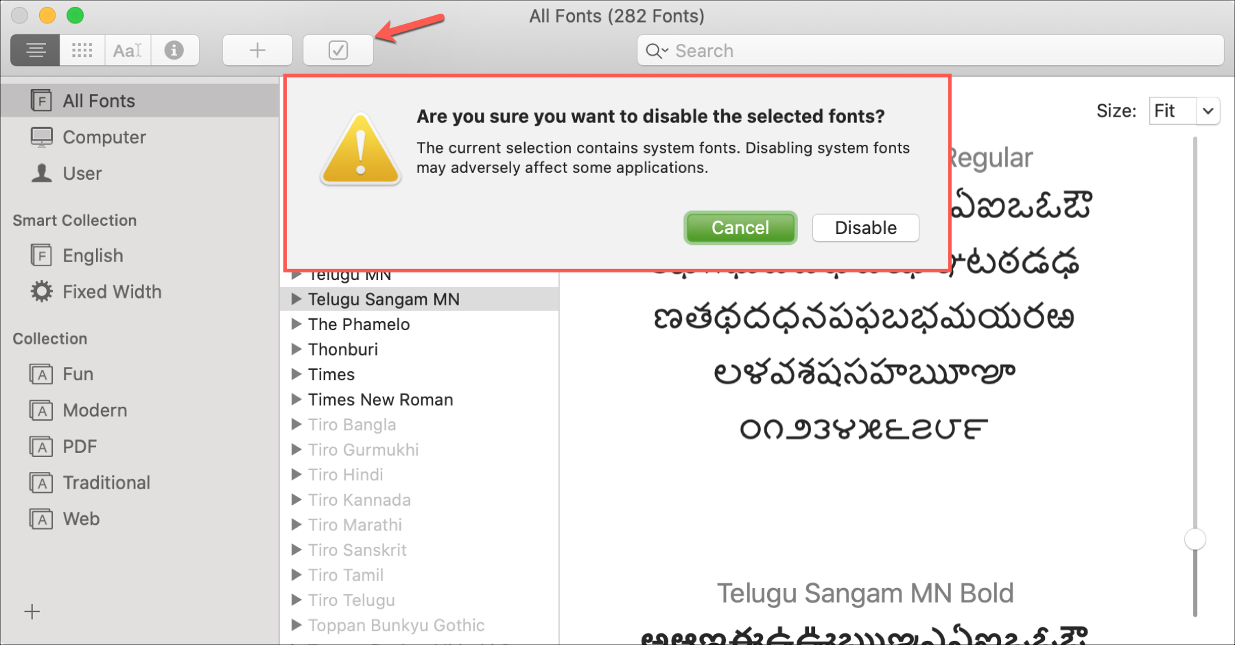 Deshabilitar Font Mac