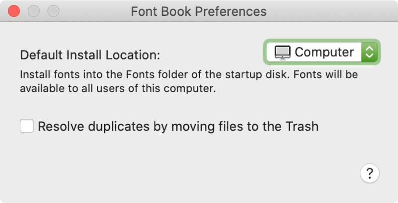 Configuración de Font Book Mac