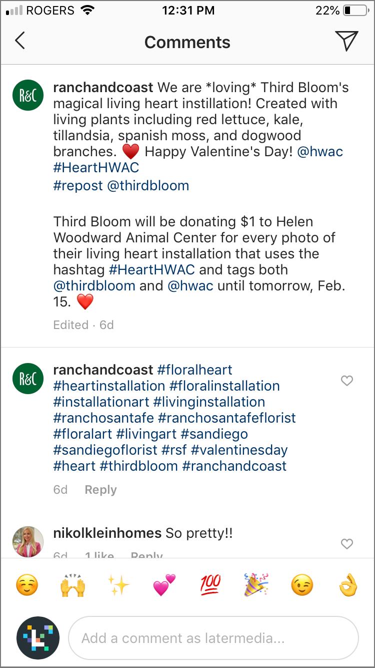 hacks de hashtag de instagram: primer comentario