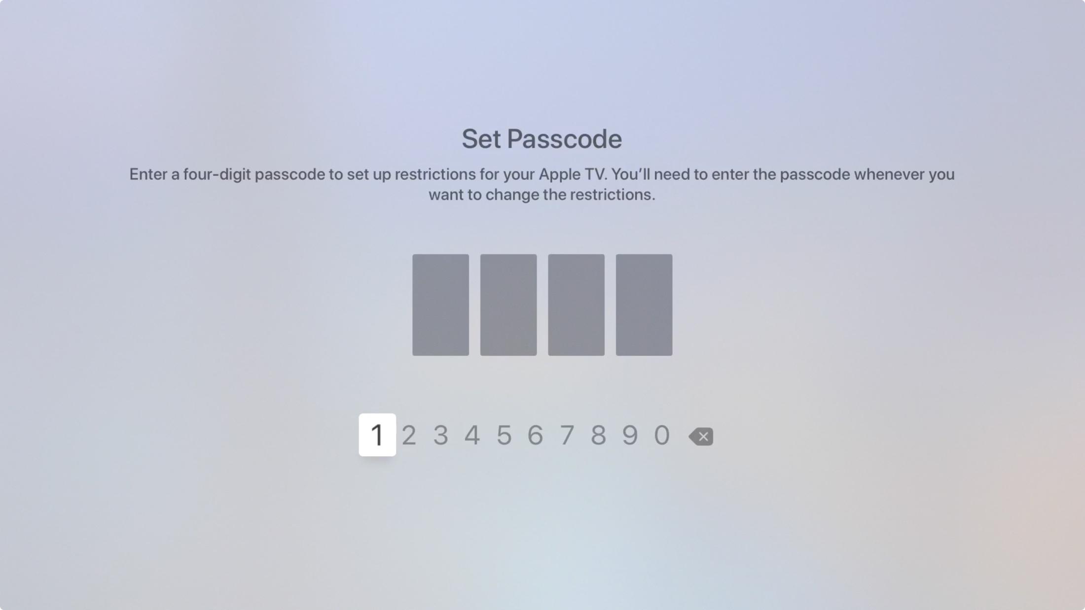 Apple    Restricciones del televisor Contraseña