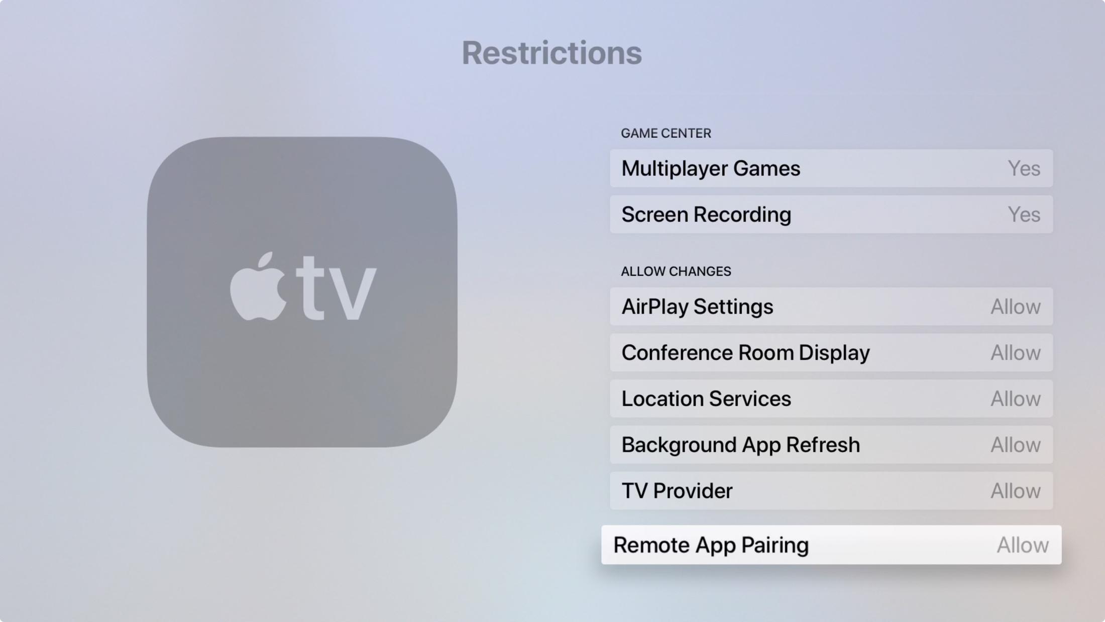 Apple    Las restricciones de TV permiten cambios