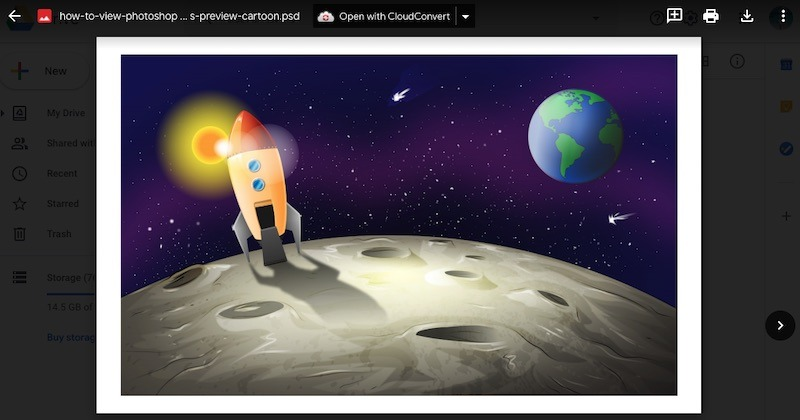 Cómo ver archivos de Photoshop Vista previa de Google Drive