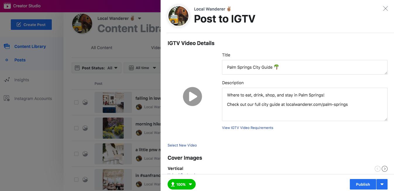 Programar videos IGTV: Enviar a IGTV Window Creator Studio