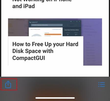 Captura de pantalla de la página completa Botón Ios Share