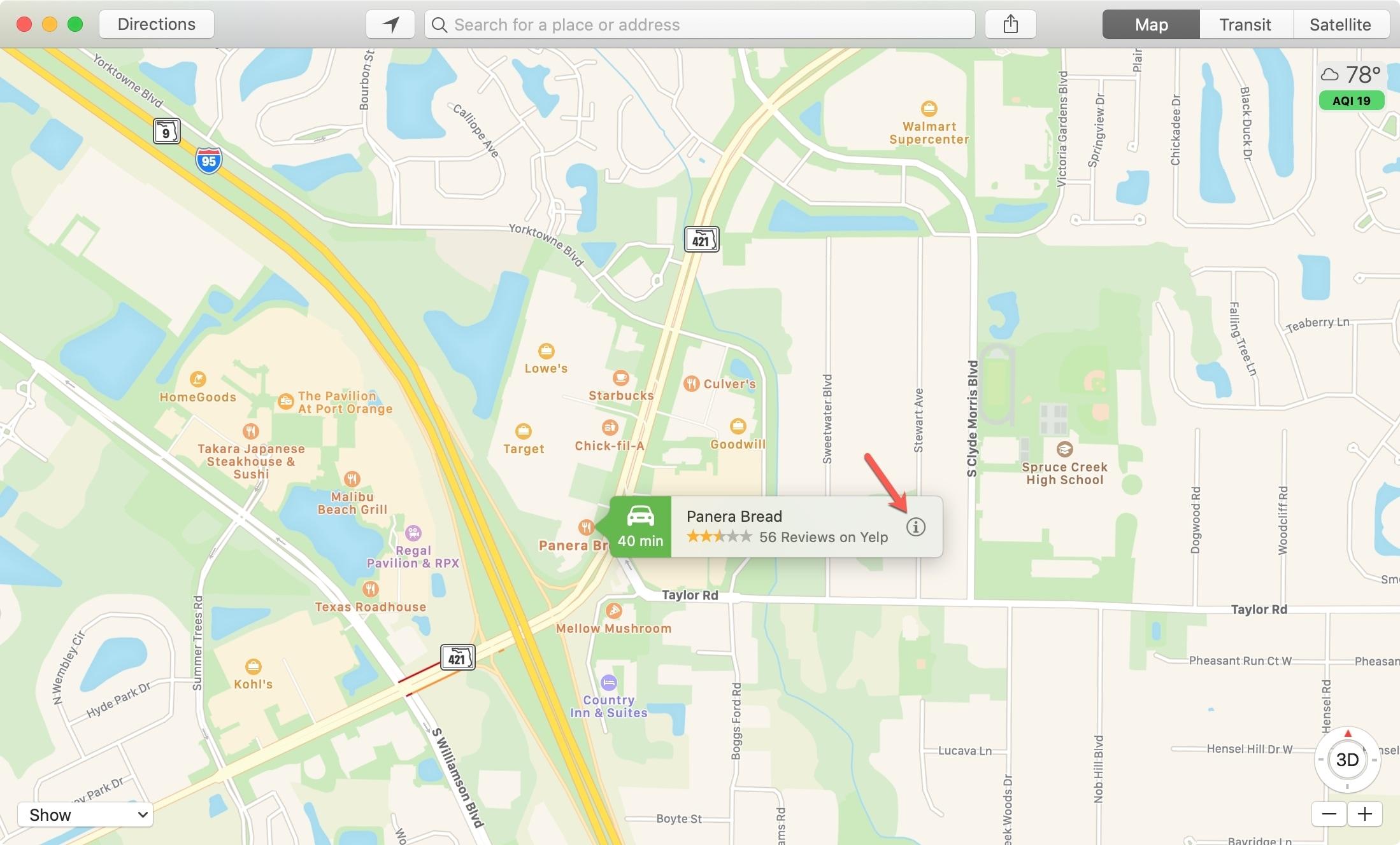 Mapas Información de ubicación Mac