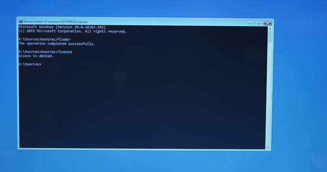 bootrec-fixboot-access-deny - falta bootmgr windows 10