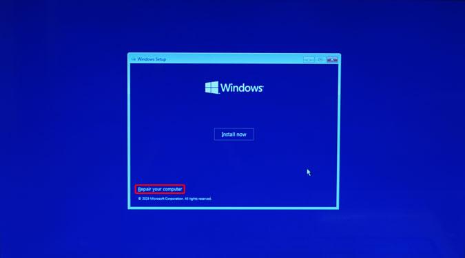 reparar su opción de computadora en windows 10 pantalla de instalación