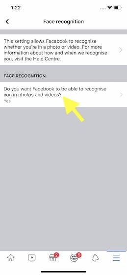"""toca el botón """"¿Quieres Facebook para poder reconocerte en el cuadro de fotos y videos."""