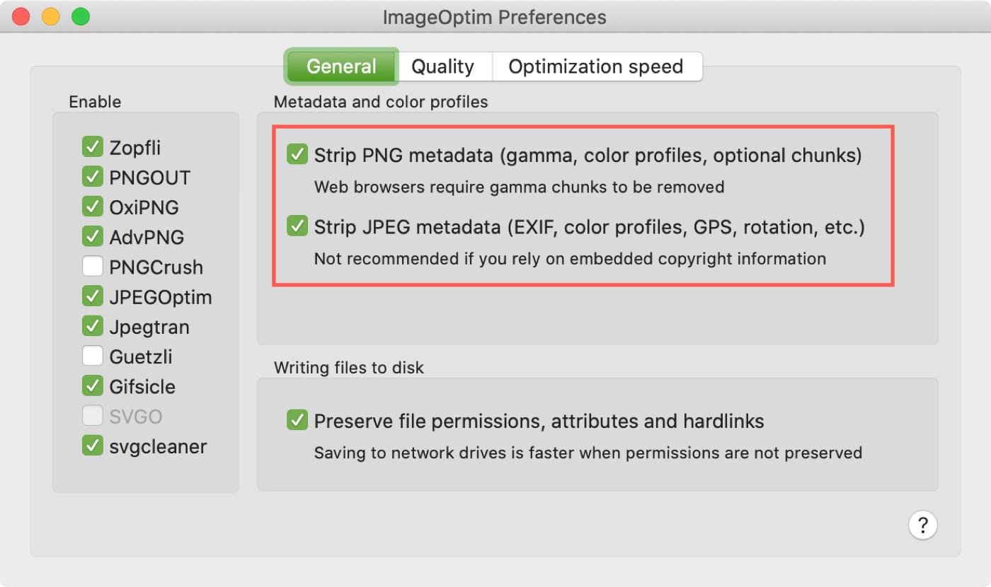 Configuración general de ImageOptim Mac