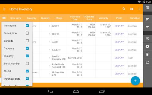 Captura de pantalla de la base de datos de Memento