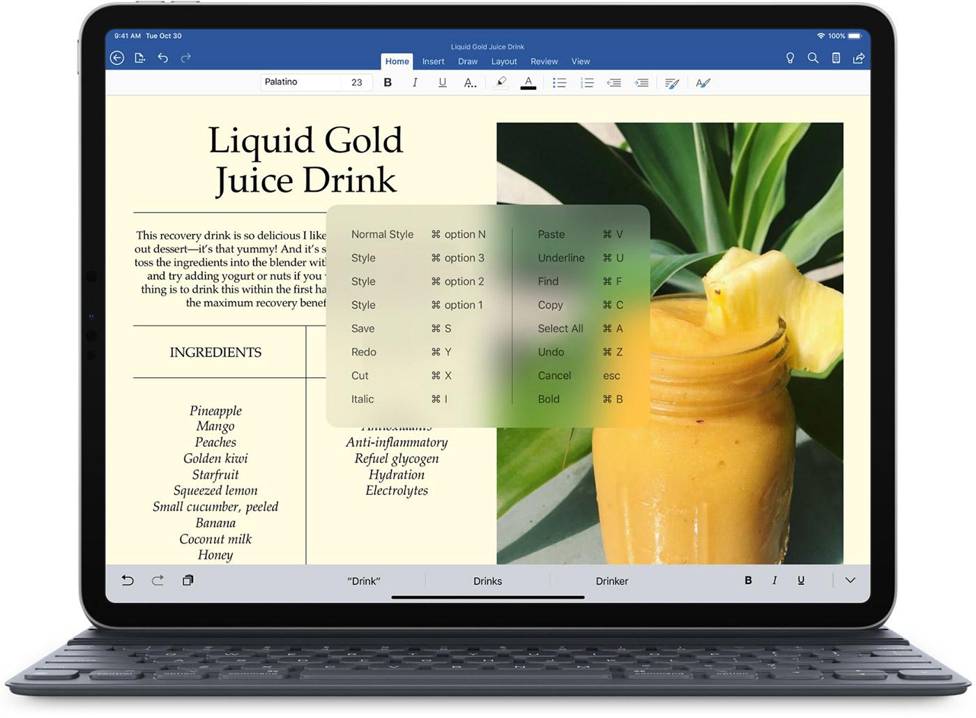 Los accesos directos aparecen en Microsoft Word en el iPad