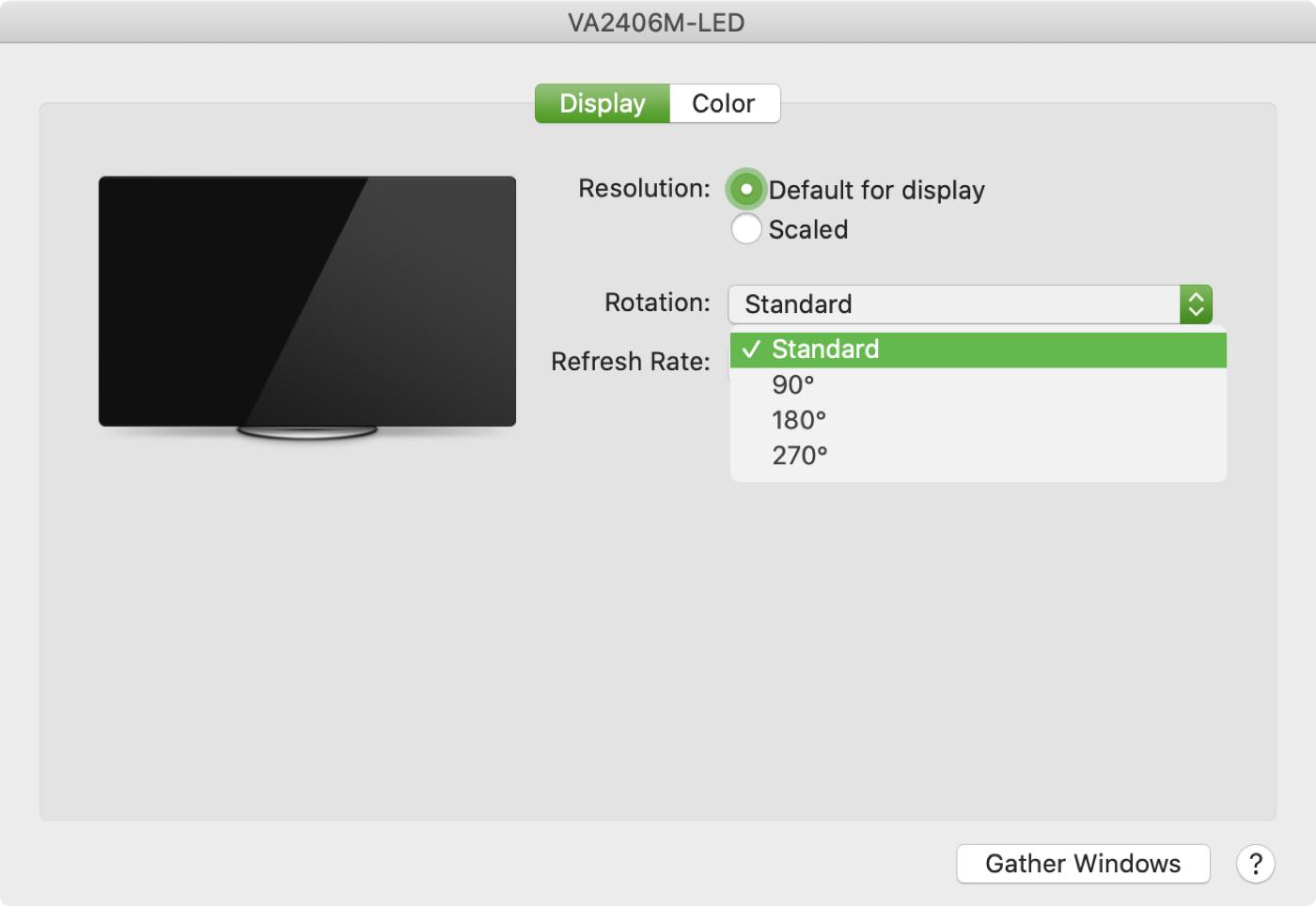 Mac externo muestra rotación