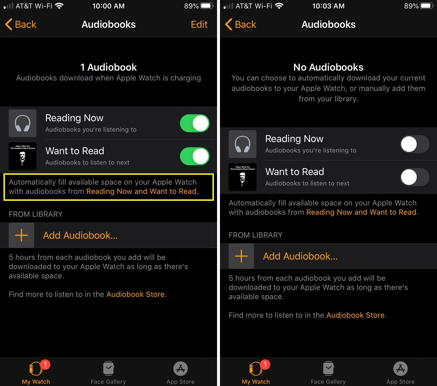 Deshabilitar descargas de audiolibros Apple Watch