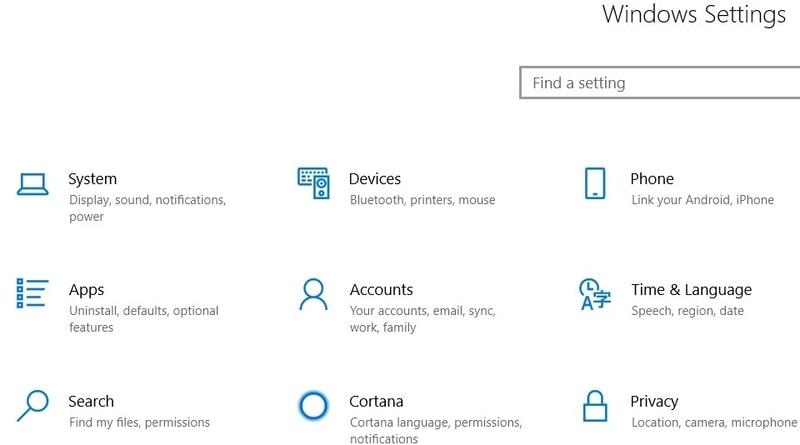 Windows    configuración Page