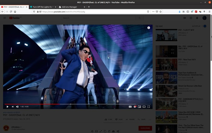Firefox Better Youtube Apaga las luces