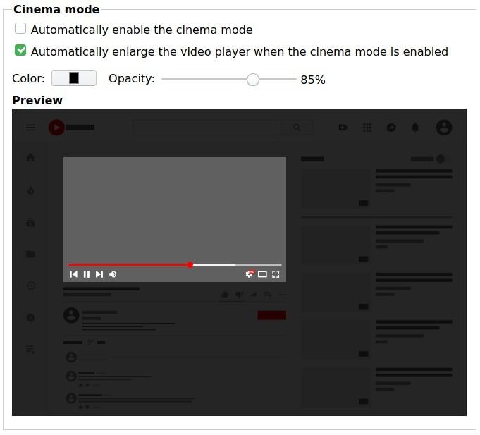Opciones de Cinema Firefox Better Youtube Enhancer