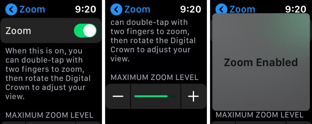 Ajustes de zoom a Apple Watch