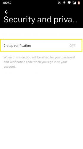 2-paso de verificación en Uber para Android.