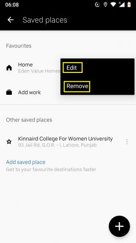 Edición y / o eliminación de un lugar guardado en Uber para Android.