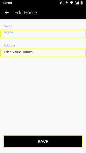Edición de un lugar guardado ya existente en Uber para Android.
