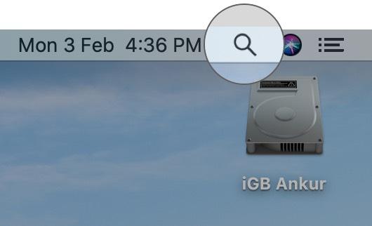 Haga clic en el icono de búsqueda en Mac
