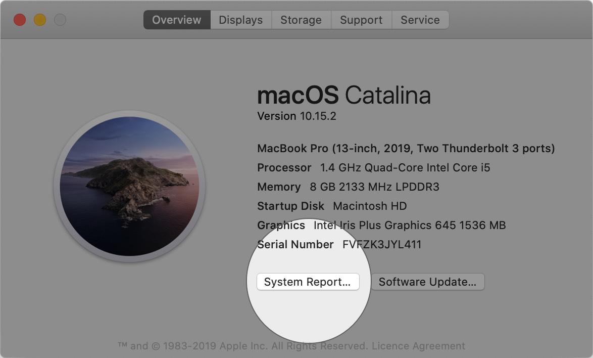 Haga clic en Informe del sistema en Acerca de esta Mac