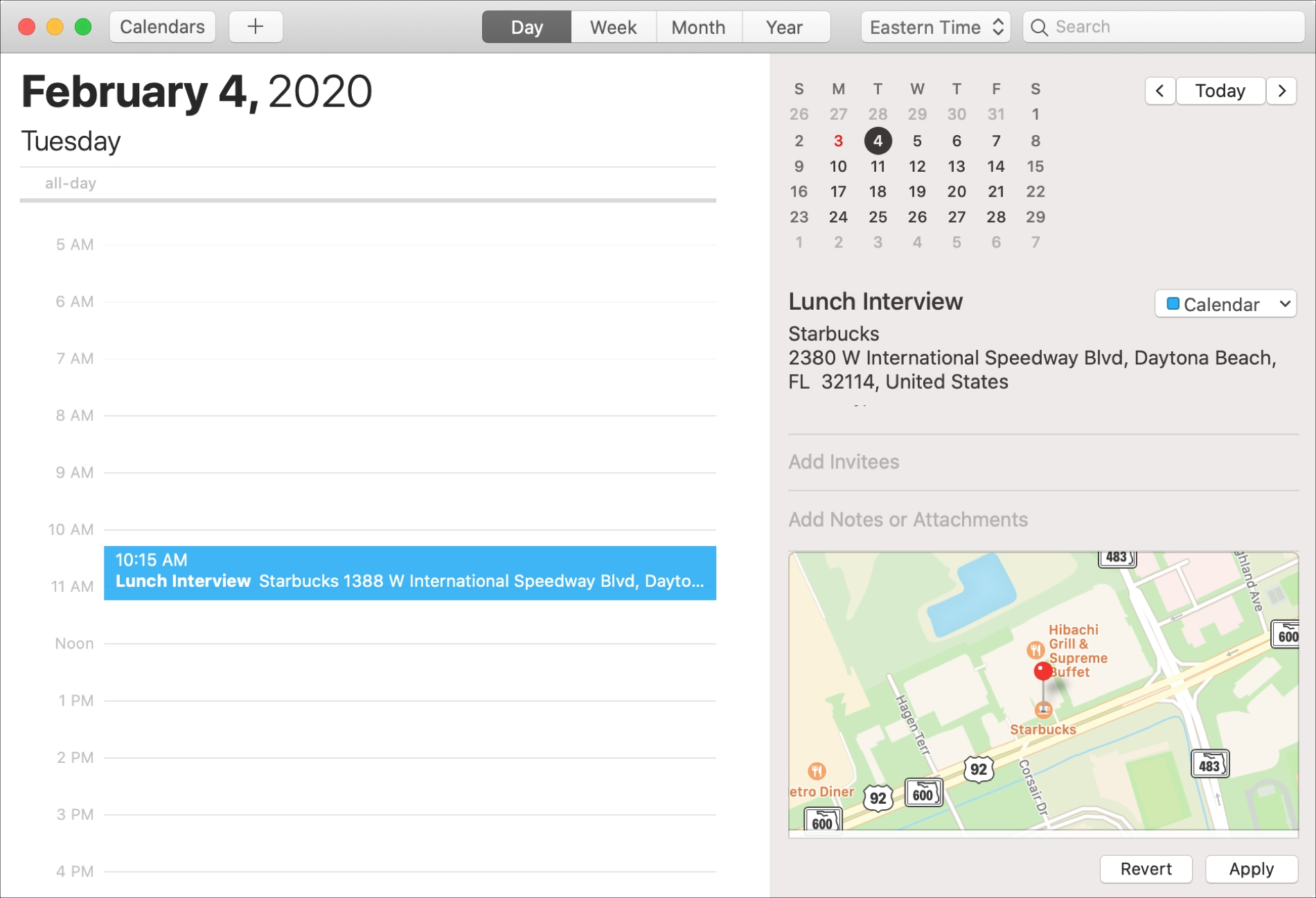 Calendario de Mac con ubicación en el mapa