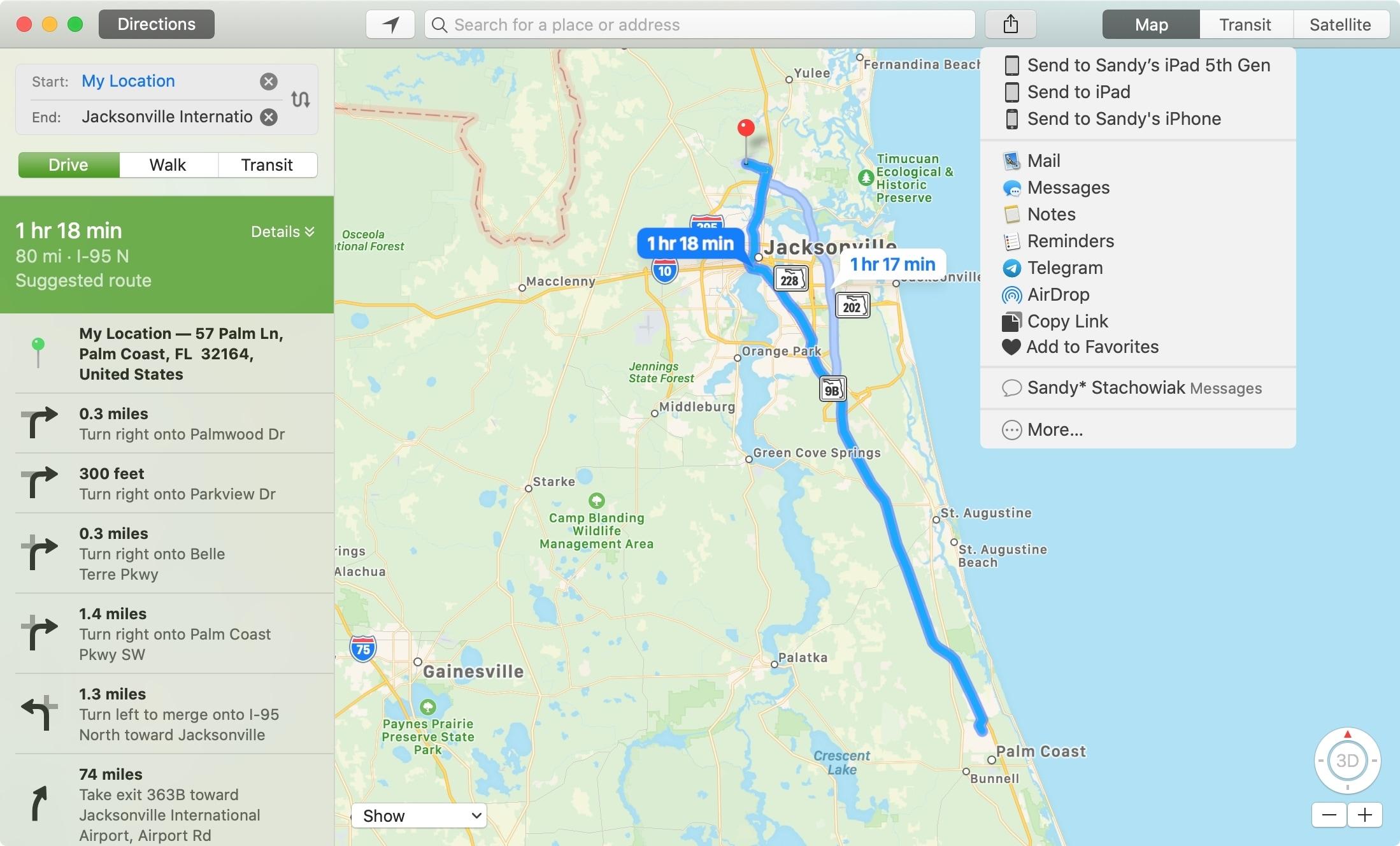 Apple    Opciones para compartir mapas en Mac