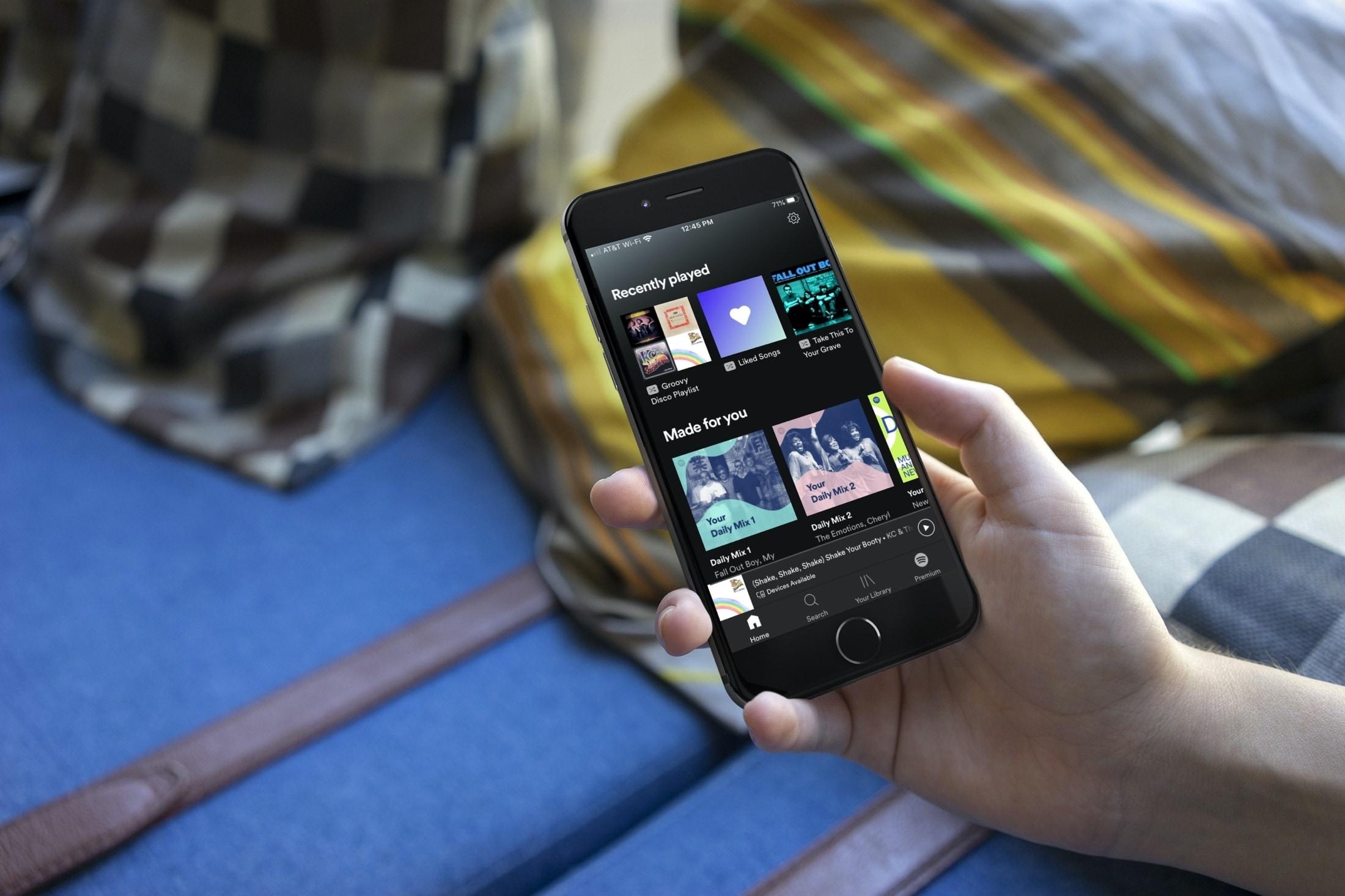 Escucha la pestaña iPhone de Spotify Home