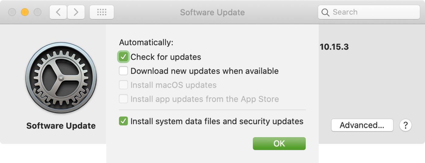 Verificación de actualización de software solo para actualizaciones de Mac