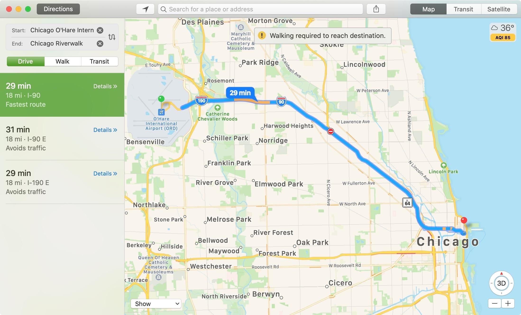 Mapas Distancia entre lugares Mac