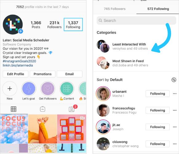 Instagram    las siguientes categorías