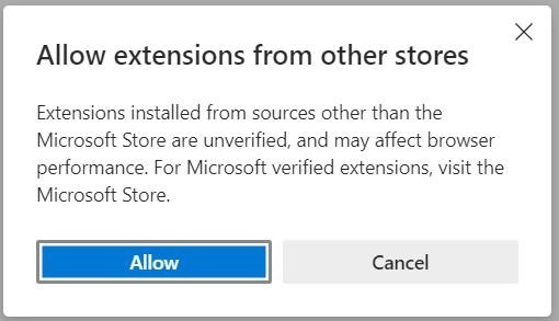 Borde contra Chrome Permitir extensiones