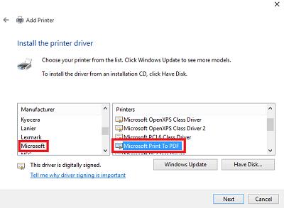 Microsoft PDF'ye Yazdır