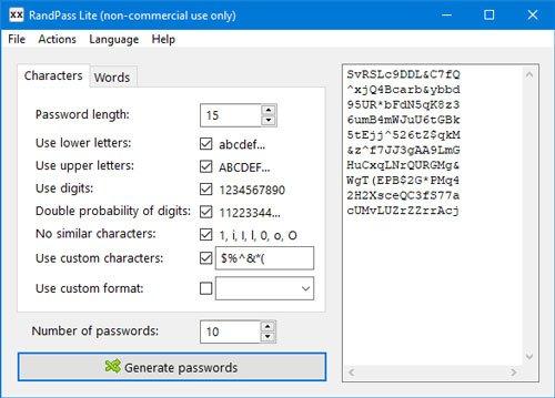 RandPass Lite es un generador de contraseñas gratuito para Windows 10