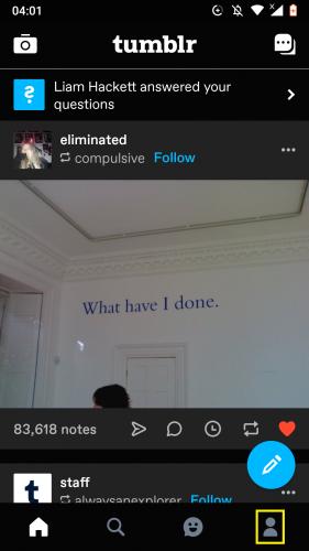 Accediendo al perfil de Tumblr desde Android.