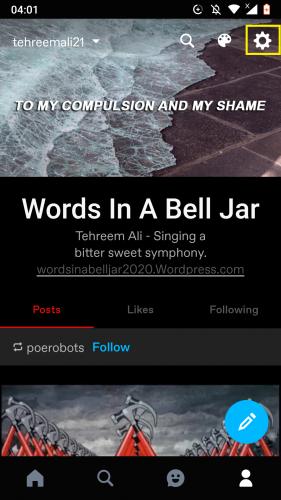 Accediendo a la configuración de perfil de la cuenta de Tumblr en Android.