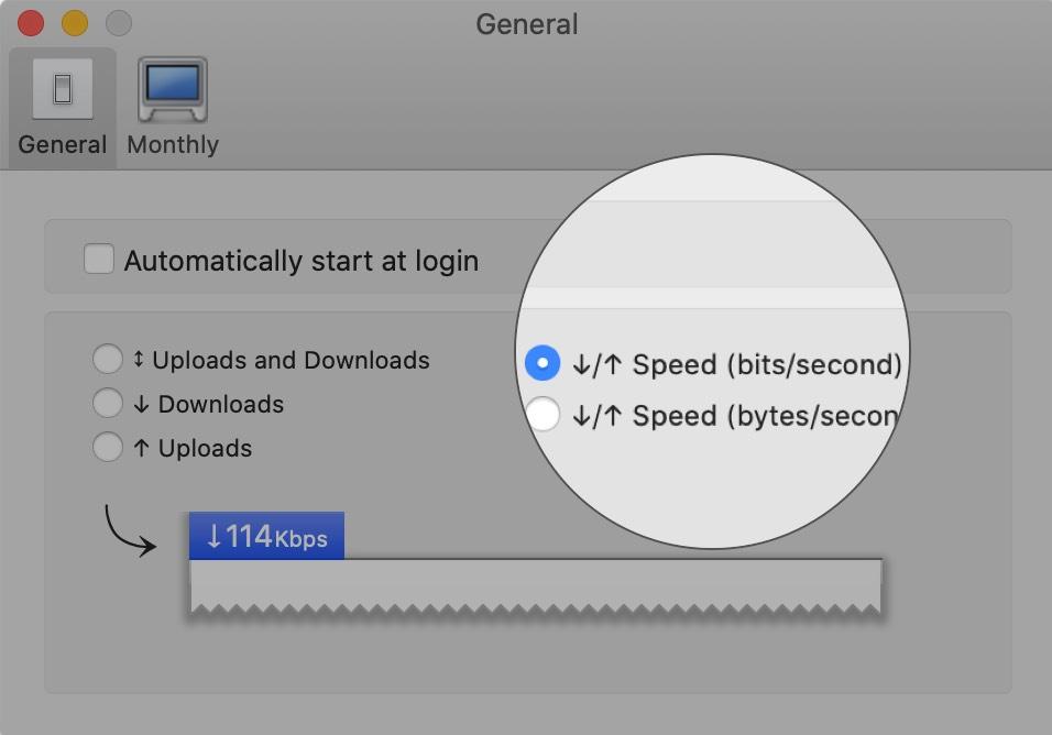 Seleccione Velocidad (bit: segundo) en la pestaña General en Mac