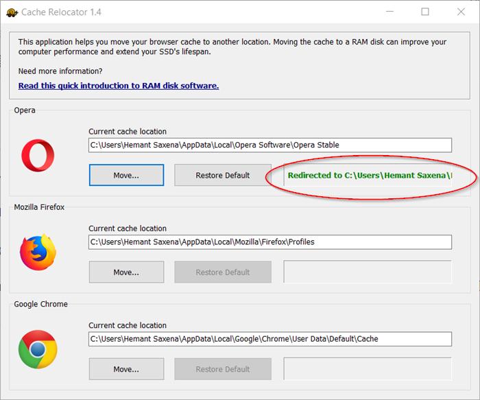 SoftPerfect Cache Relocator para Windows 10