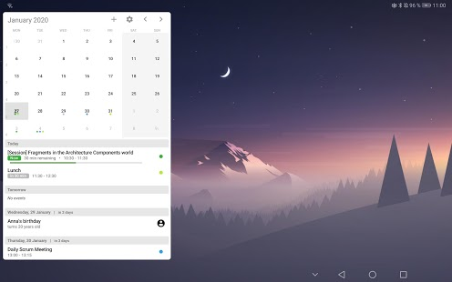 Captura de pantalla para tu widget de calendario